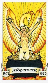 From the Robin Wood tarot - note the strong Pluto symbolism!