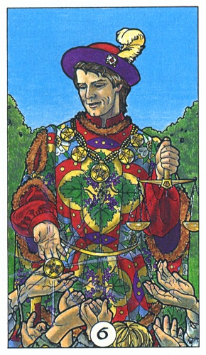 The Six of Pentacles as depicted in the Robin Wood Tarot; A wealthy patrician judiciously distributing alms to the needy.