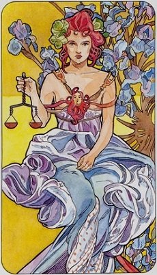 Libra - also known as Justice - from the Tarot Art Nouveau