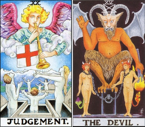 "Images courtesy of the RWS tarot. ""Judgement"" is astrologically correlated to Pluto, while ""The Devil"" is connected to the sign of Capricorn - if this doesn't pictorially represent the neccessity of heeding the call to raise our consciousness surrounding how we have become enslaved by the Capricorn structures in life (of which corporations and government both belong), I'm not sure what does!"